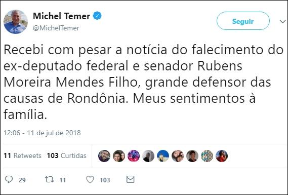 Presidente Temer lamenta morte de Moreira Mendes