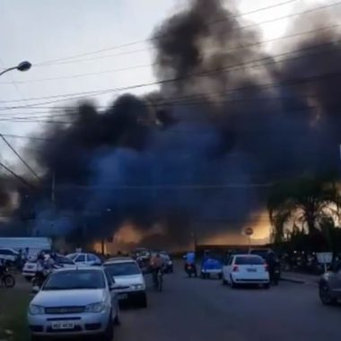 Cerca de 20 veículos foram destruídos em incêndio no Denarc