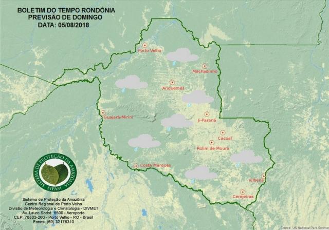 Sipam prevê chuvas no sábado e frente fria no domingo em Rondônia