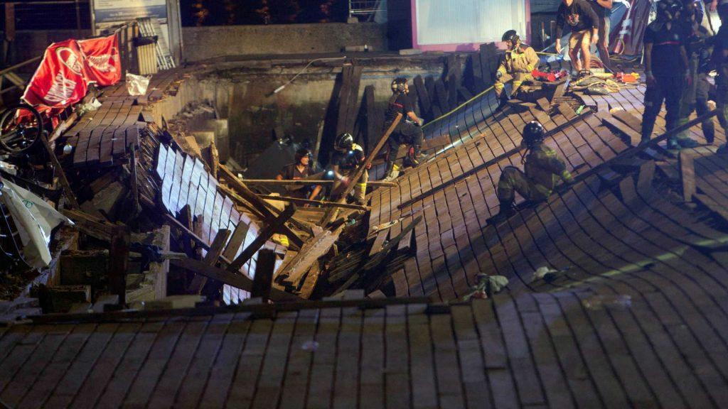 Plataforma cai durante festival na Espanha e deixa 300 feridos