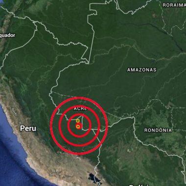 PRÓXIMO A RONDÔNIA – Terremoto é registrado na fronteira entre Peru e Brasil