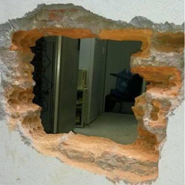 Parede de agência bancaria é quebrada e criminosos tentam arrombar caixas eletrônicos