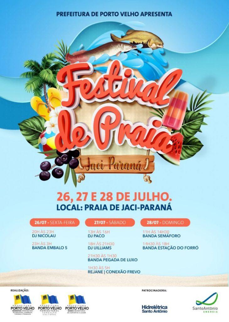 FESTIVAL DE PRAIA – Programação começa no dia 26 em Jaci-Paraná