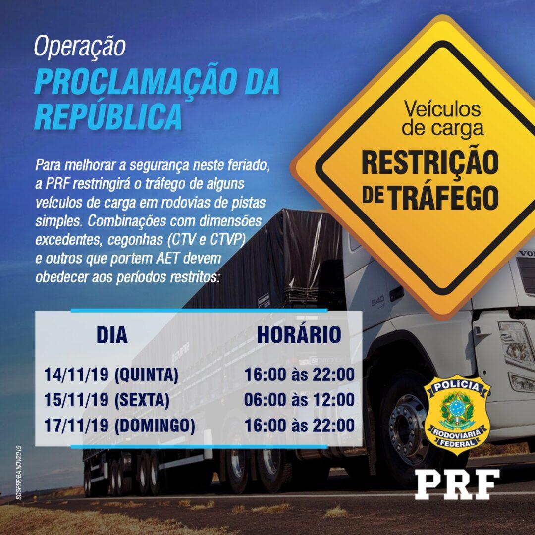 Operação Proclamação da República da PRF inicia nesta quinta-feira