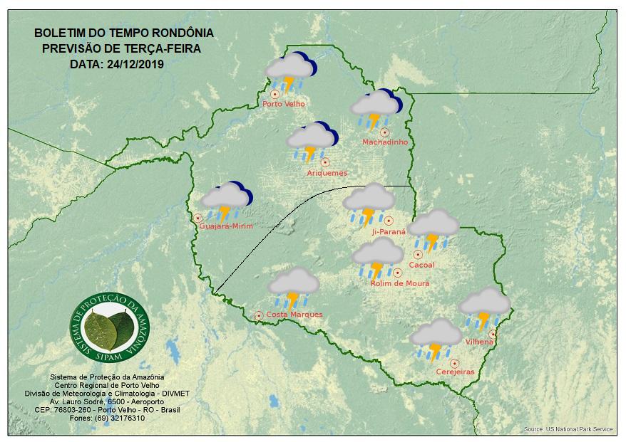 Veja a previsão do Sipam para a véspera de Natal em Rondônia