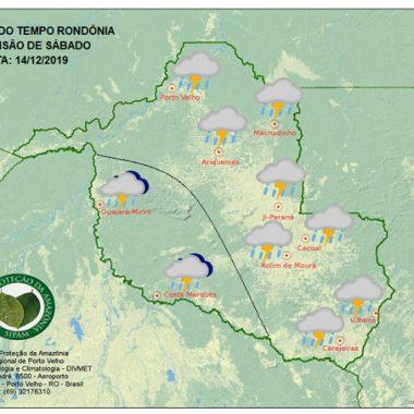 Sábado deve ser chuvoso em todo o Estado, segundo o Sipam