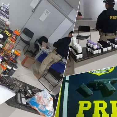 PRF apreende anabolizantes, arma de fogo e prende foragido