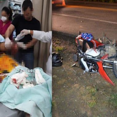 Motociclista perde a perna em grave acidente na BR-364