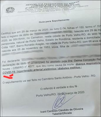 CORONAVÍRUS – Idosa de 66 anos é a primeira vítima fatal em Rondônia, morte ocorreu no CEMETRON