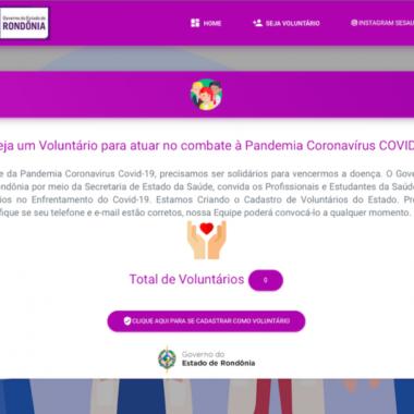 Voluntários podem se cadastrar em portal para atuar no combate ao coronavírus em Rondônia
