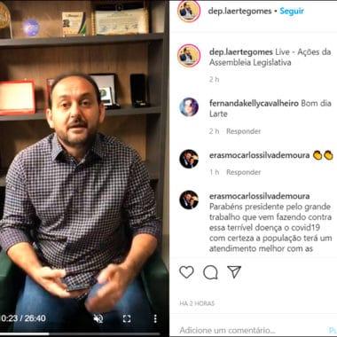Deputado Laerte explica ações desenvolvidas pela Assembleia para combater o coronavírus