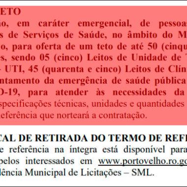 Prefeitura de Porto Velho lança pela terceira vez cotação de preços para contratar hospital com 50 leitos
