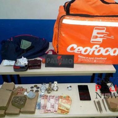 Entregador é preso pelo PATAMO com bolsa de entregas repleta de drogas