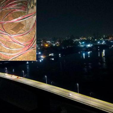 Duas semanas após inauguração, ladrões furtam fiação elétrica da ponte sobre o rio Madeira
