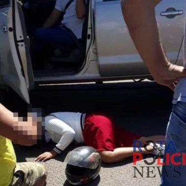Colisão entre camionete e motocicleta deixa uma pessoa ferida