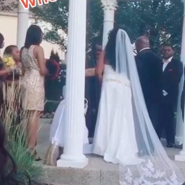 Vídeo mostra mulher invadindo casamento dizendo estar grávida do noivo; veja
