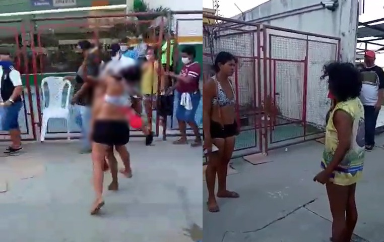 PROIBIDO PARA MENORES – Mulher fica nua e 'cai na porrada' com outra por Auxílio Emergencial; veja vídeo