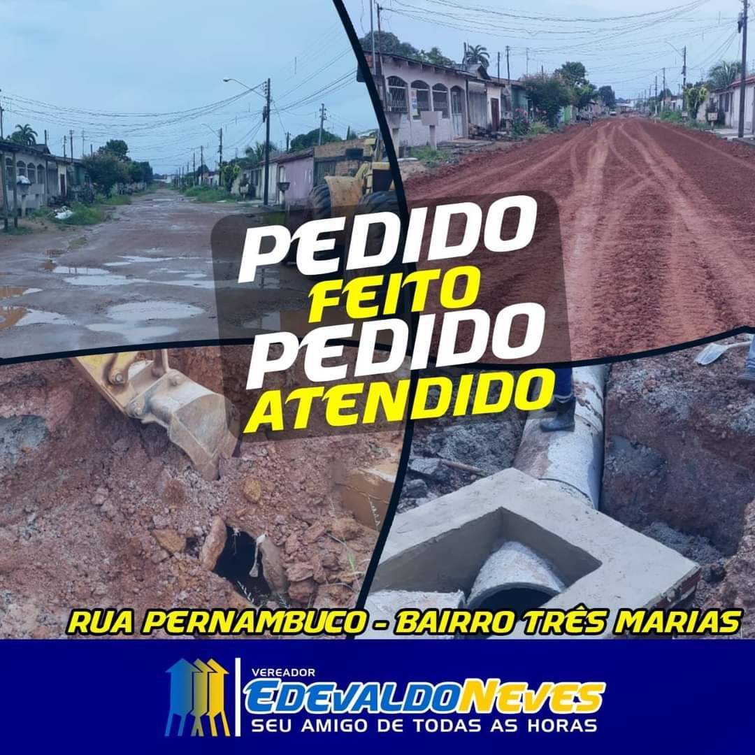 ATENDIDO – Prefeitura atende pedido do vereador Edevaldo Neves recuperando rua no Bairro Três Marias