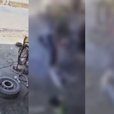 Veja o momento em que pneu explode e arranca cabeça de mecânico