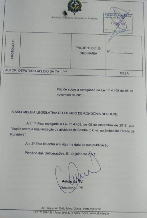 Projeto de Aélcio da TV que acabou com a profissão de Bombeiro Civil em Rondônia